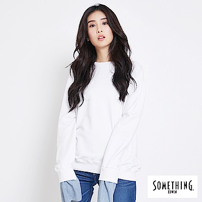 SOMETHING 活動袖口條紋圓領T恤-女-白色