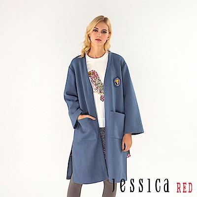 JESSICA RED - 率性立體徽章雙口袋長版外套(藍)