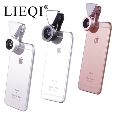 LIEQI 新款補光 無暗角 廣角+微距 鏡頭 適用手機 平板 簡約時尚 鋁合金外殼