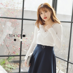 東京著衣 微透膚深V蕾絲針織上衣-S.M(共三色)