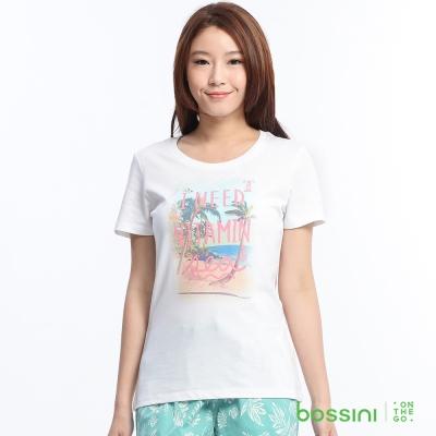 bossini女裝-印花短袖T恤74白