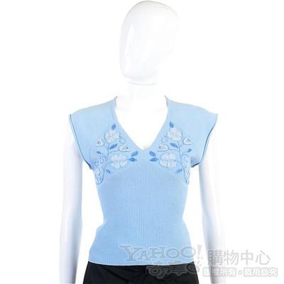 Giorgio Groti 水藍色繡花珠飾短袖上衣