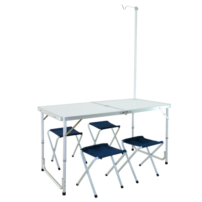 LIFECODE-007箱型鋁合金折疊桌-附燈架-4張帆布椅