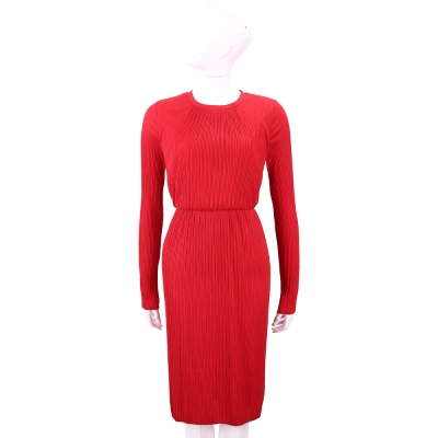 Max Mara 紅色細百摺長袖紗質洋裝