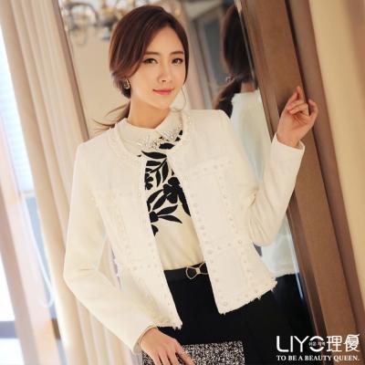 LIYO理優韓風小香風針織外套(白)