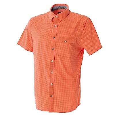 【Wildland 荒野】男彈性格子布短袖襯衫-橘