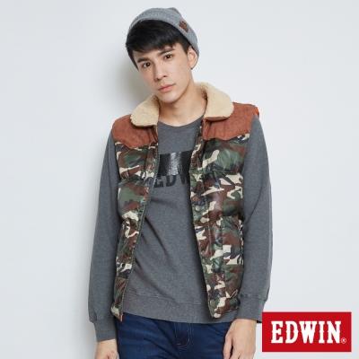 EDWIN 小圓領羽絨背心-男-迷彩色