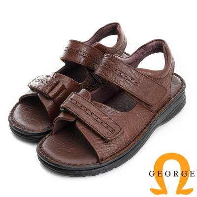 GEORGE 喬治-氣墊系列 真皮雙魔鬼氈休閒涼鞋(男)-棕色