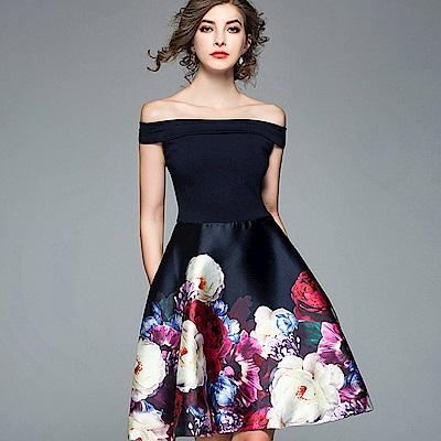ABELLA 艾貝拉 藏藍一字領亮面歐風花朵短裙洋裝(S-XL)