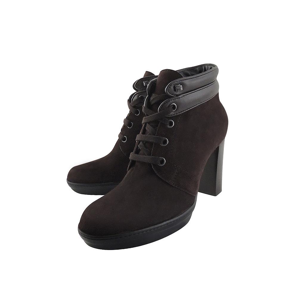 TODS 麂皮綁帶高跟短靴-36號(咖啡色)