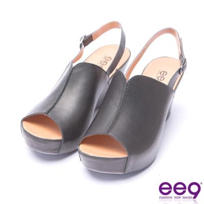 ee9 經典手工露趾楔形涼鞋-黑色