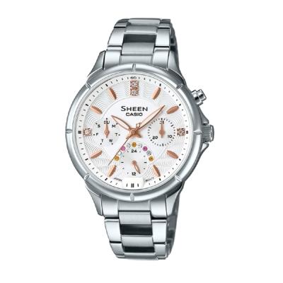 SHEEN經典華洛世奇水晶超亮LED照明腕錶(SHE-3047D-7A)銀白面35.3mm