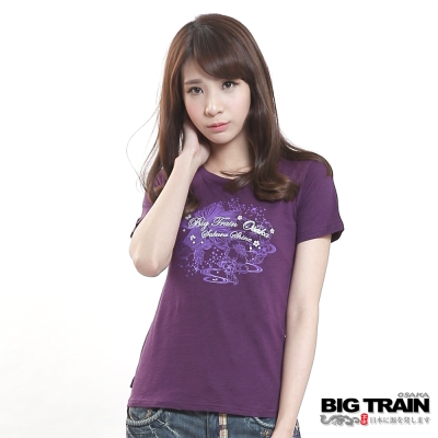 BIG TRAIN 金魚繁星圓領T-女-紫色