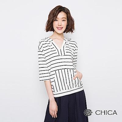 CHICA 清甜俏皮連帽口袋條紋上衣(3色)