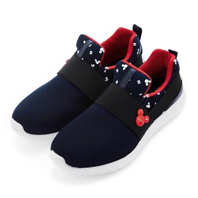 DISNEY 率性風格 米奇彈性繃帶休閒鞋-藍(女)