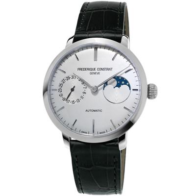 康斯登 CONSTANT 自製機芯超薄月相腕錶-38mm/白x黑