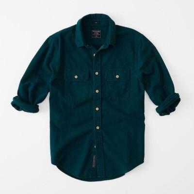 AF a&f Abercrombie & Fitch 長袖 襯衫 綠色 0146