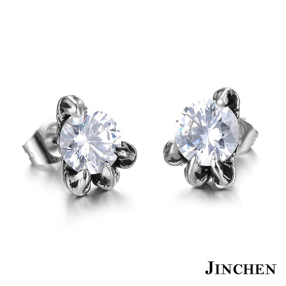 JINCHEN 白鋼龍爪耳環 白鑽(單個價)