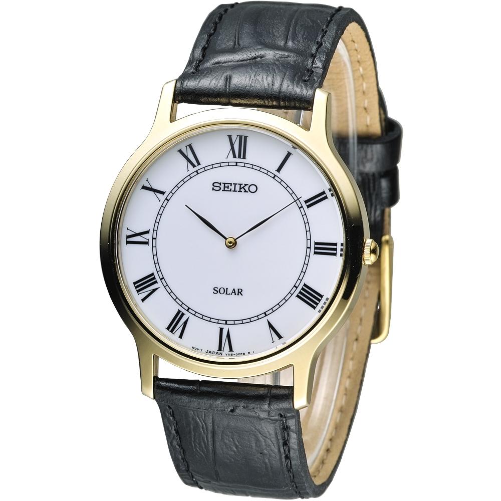 SEIKO SOLAR學院風尚太陽能腕錶SUP878P1-白38mm