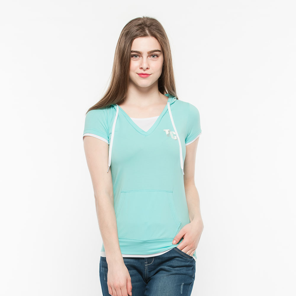Hang Ten - 女裝 - ThermoContro連帽假兩件口袋短袖上衣-橄欖