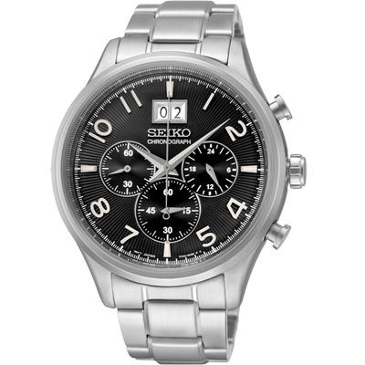 SEIKO CS 都會菁英大日期計時腕錶(SPC153P1)-黑/43mm
