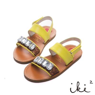 iki2童鞋-流星彩沙真皮寶石涼鞋-黃