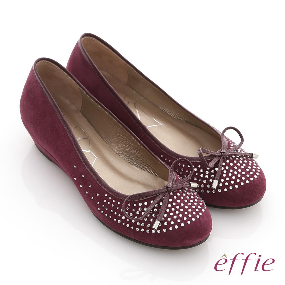 effie 立體幾何 全絨面羊皮星光水鑽楔型跟鞋 紫