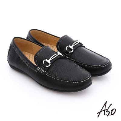 A.S.O 輕量抗震 真皮結飾縫線奈米樂福鞋 黑色