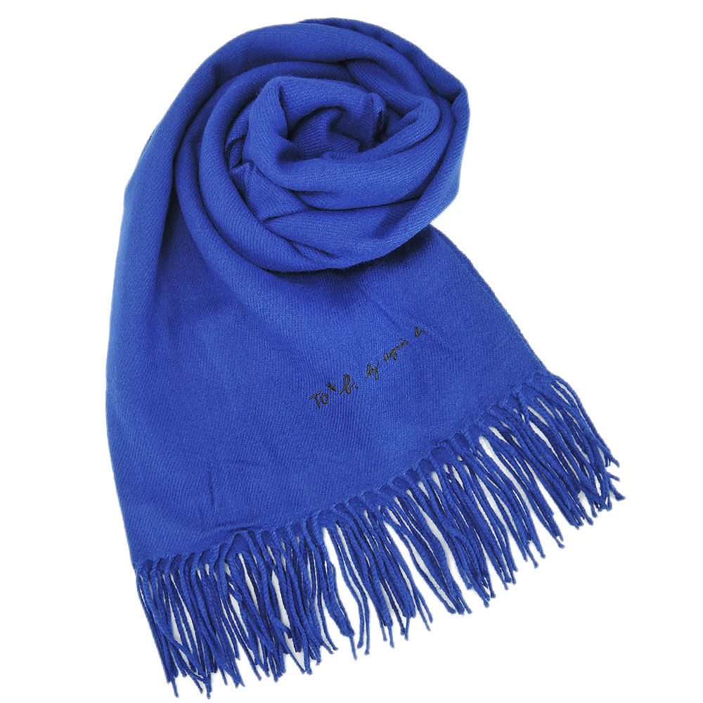 agnes b TO b素面流蘇圍巾披巾藍