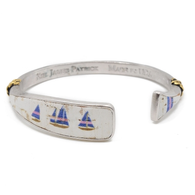 Kiel James Patrick 美國手工船錨 仿舊帆船圖騰天然軟木可調節手環