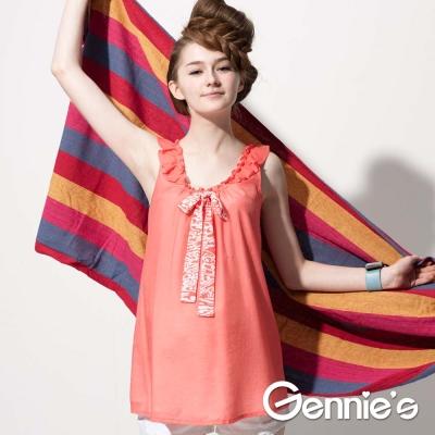 【Gennie's奇妮】氣質荷葉袖褶飾春夏孕婦背心上衣 (G3510)