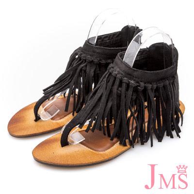 JMS-民族風造型雙層流蘇夾腳羅馬涼鞋-黑色