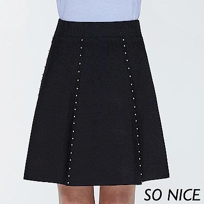 SO NICE俏麗釘珠針織圓裙