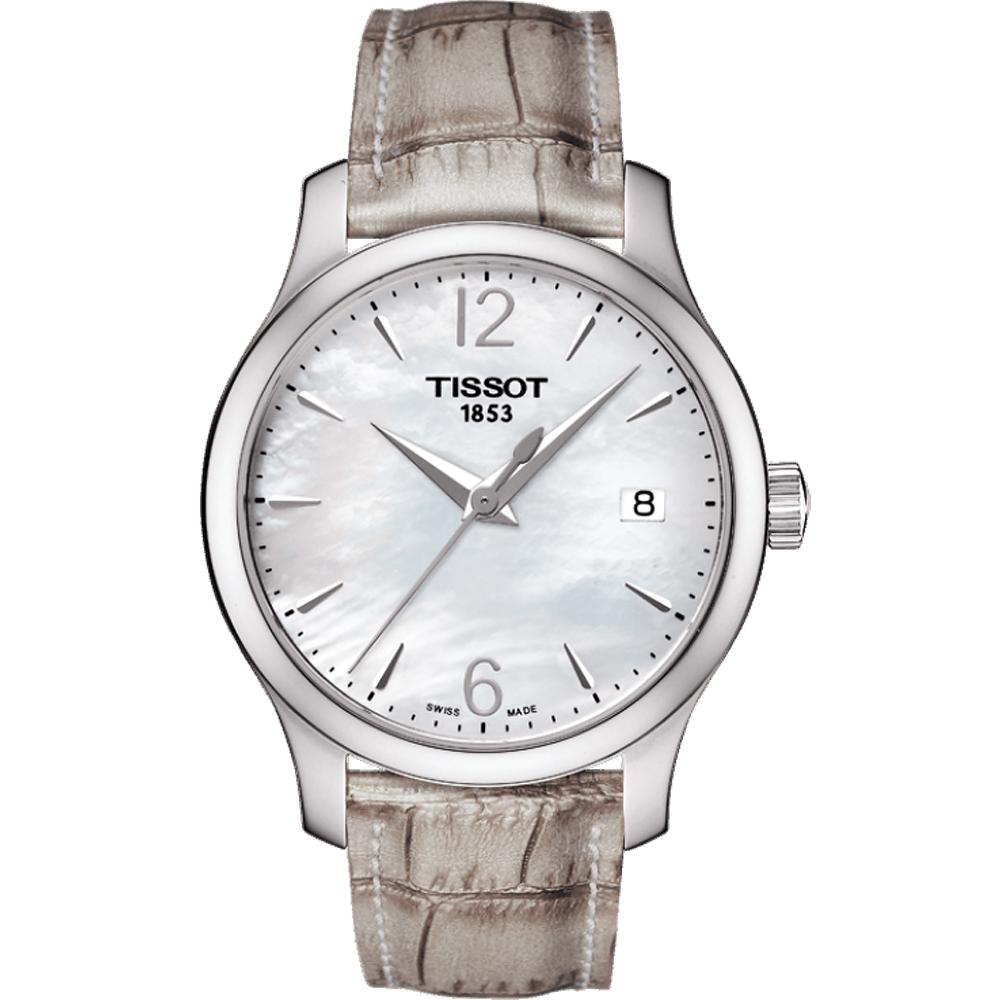 TISSOT 天梭 Tradition 大三針石英女錶-珍珠貝/33mm
