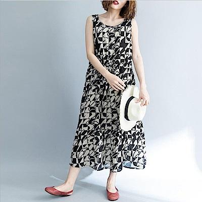 黑白幾何印花腰間抽繩寬鬆連衣裙-F-Keer
