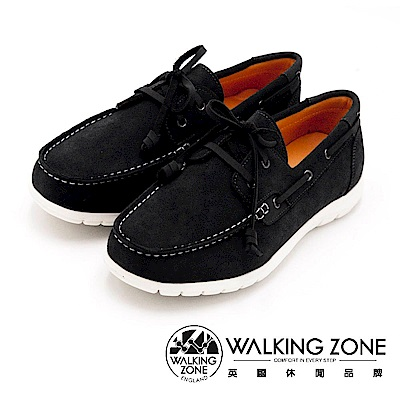 WALKING ZONE 穿繩綁帶帆船鞋 男鞋-黑(另有灰)