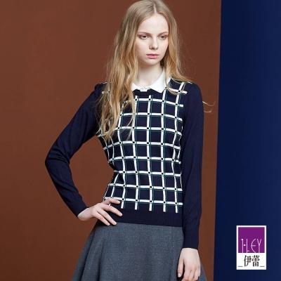 ILEY伊蕾 中性格紋變化針織衫(桃/藍)