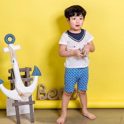 BEBEZOO 韓國 領巾造型小狗短袖上衣短褲套裝2件組