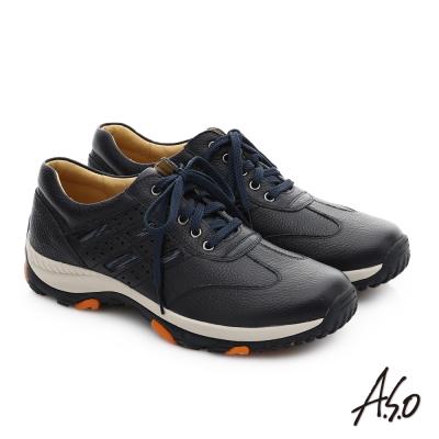 A.S.O 3D超動能 真皮抗震奈米綁帶休閒鞋 藍色
