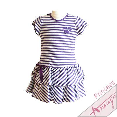 休閒條紋蝴蝶結蛋糕洋裝*紫