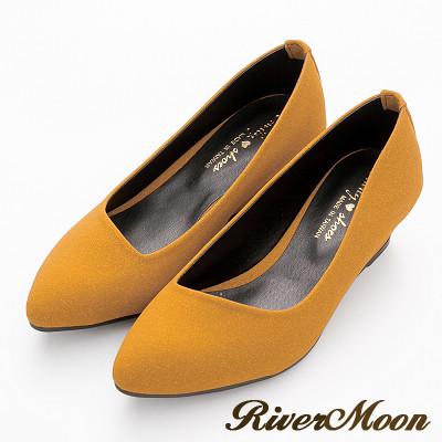 River&Moon尖頭鞋-輕熟知性‧素面斜口楔型尖頭鞋-芥黃