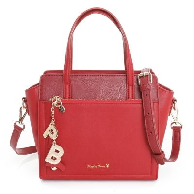 PLAYBOY-2WAY手提包Pure Color純色獻禮系列-時尚紅