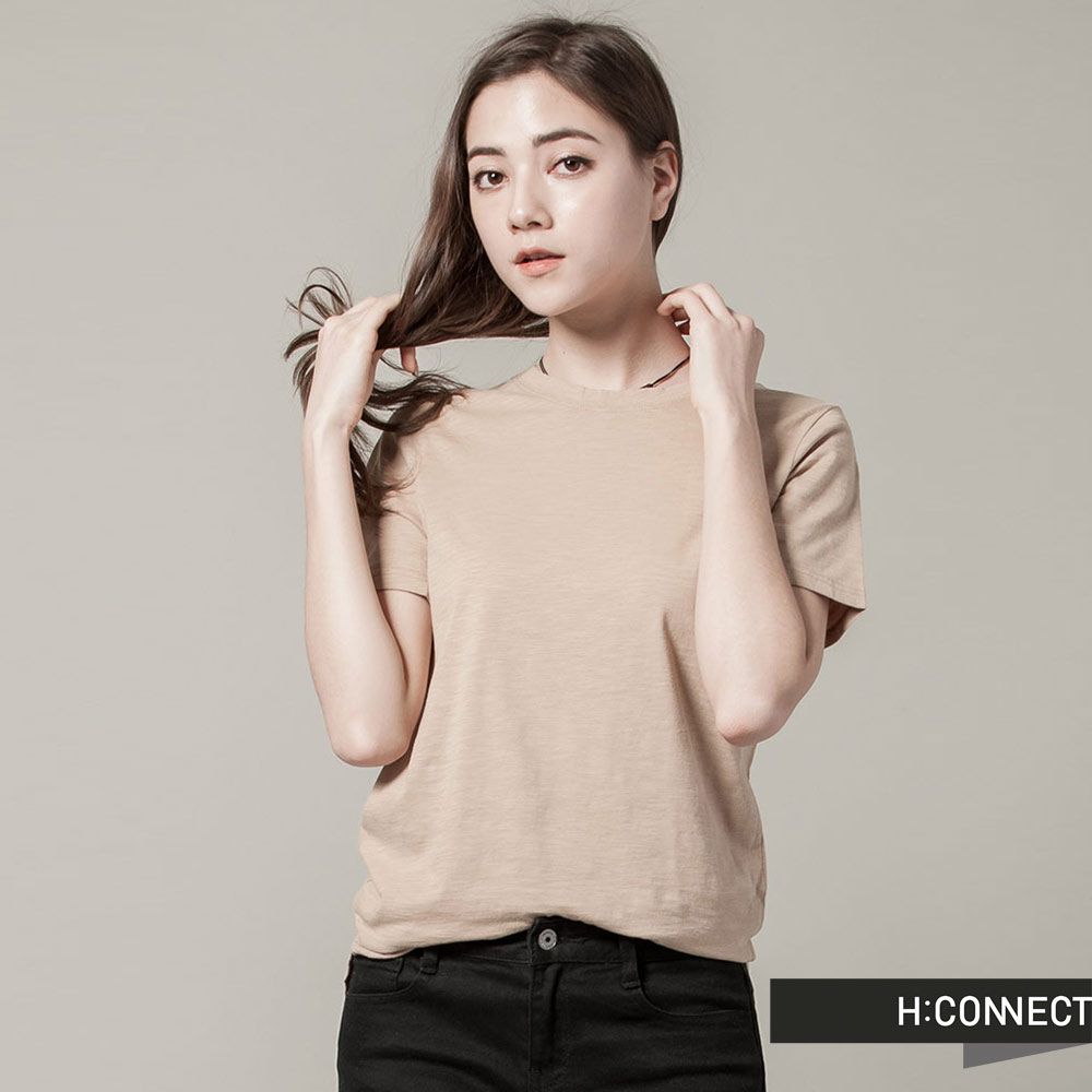 H:CONNECT 韓國品牌女裝 - 舒適圓領純色上衣 - 灰褐(快)