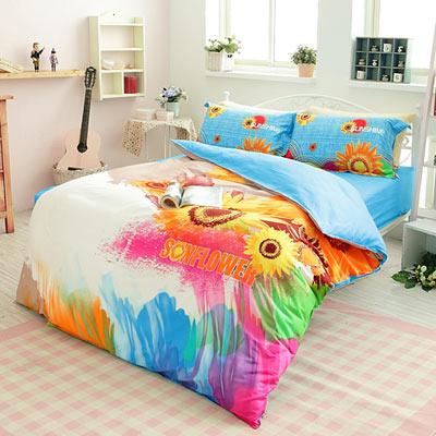 生活提案【太陽島】雙人四件式活性印染純棉兩用被床包組