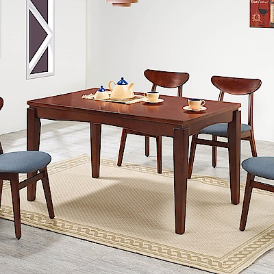 H&D 紐松木深胡桃色長方桌 (寬130X深80X高76cm)