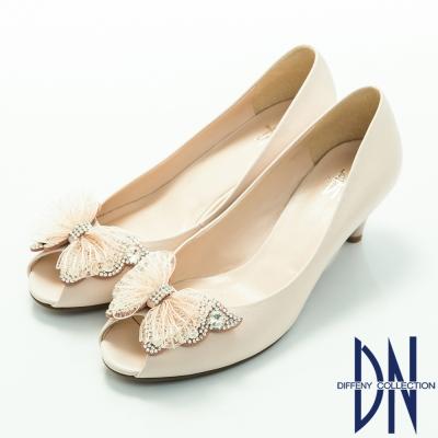 DN-優雅氣質-蕾絲蝴蝶結鑲鑽魚口高跟鞋-米