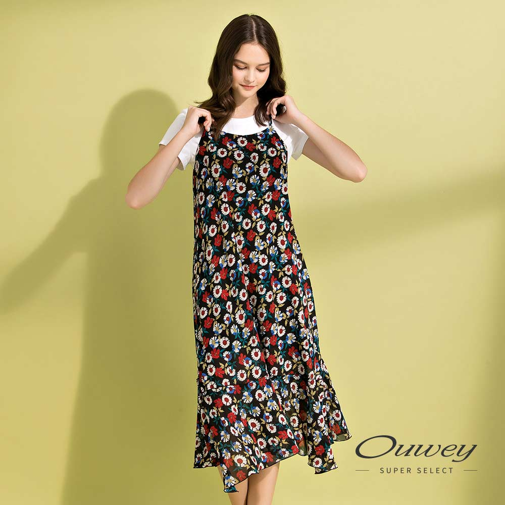 OUWEY歐薇 花卉雪紡魚尾造型兩件式洋裝(黑)