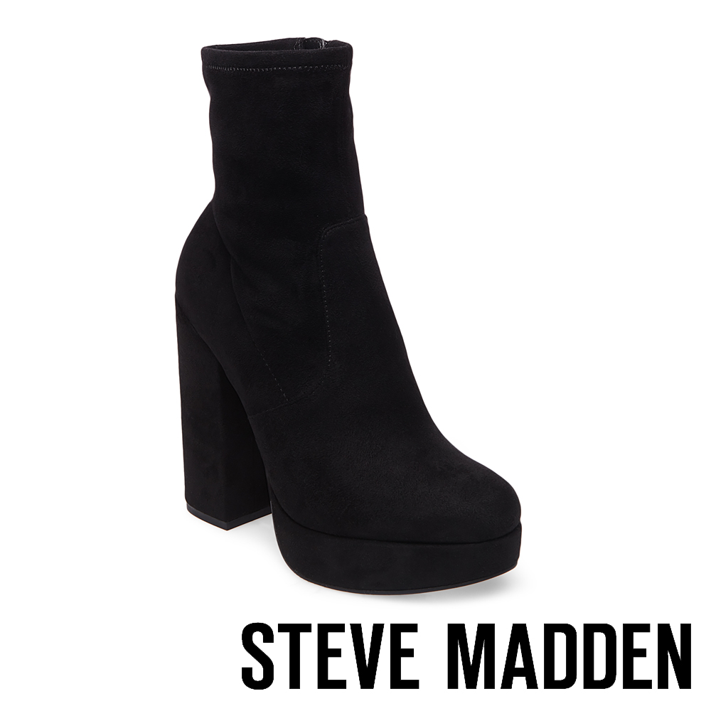 STEVE MADDEN-STARDUST-BLACK  素面厚底粗高跟短靴-黑色
