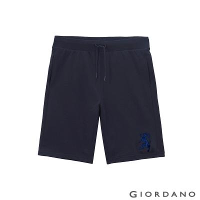 GIORDANO-男裝反光刺繡鬆緊腰休閒針織短褲-92-標誌海軍藍