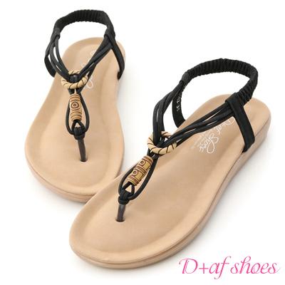 D+AF 地中海風情.海軍風編織夾腳涼鞋*黑